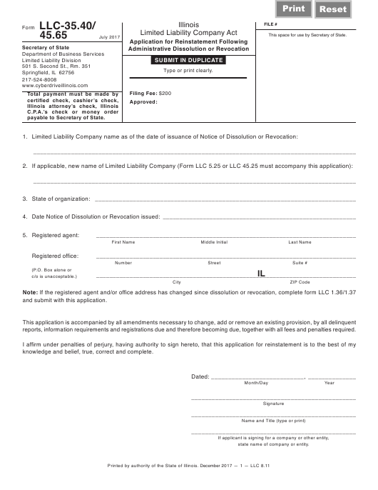 Form LLC-35.40/45.65 Printable Pdf