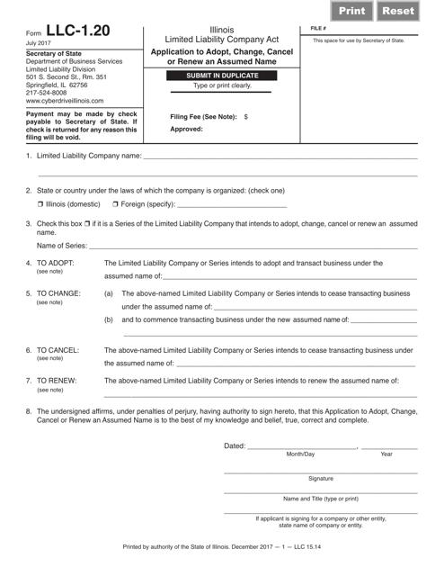 Form LLC-1.20 Printable Pdf