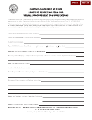 Form SOS IG 17 Lobbyist Reporting Form for Verbal Procurement Communications - Illinois