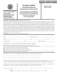 Form VSD 698 Recertification/Renewal Organizational Parking Placard - Illinois