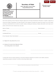 Form VSD 794 Driver Education License Plates Request/Renewal Form - Illinois