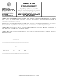 Form VSD 846 Affirmation for Use and Condition of Expanded-Use Antique Vehicle - Illinois