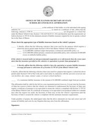 "Form VSD928 ""School Bus Insurance Affirmation"" - Illinois"