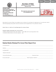 "Form VSD883 ""Municipal Fire License Plates Request Form"" - Illinois"