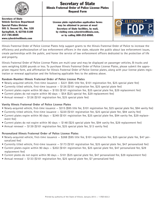 Form VSD 833 Download Fillable PDF, Illinois Fraternal Order