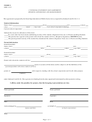 "Form 1 ""Custodial Statement and Agreement - Divorce, Separation, or Abandonment"" - Indiana"