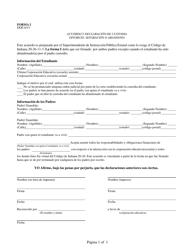 Form 1 Acuerdo Y Declaracion De Custodia - Divorcio, Separacion O Abandono - Indiana