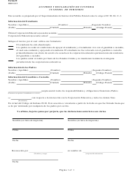 Form 2 Acuerdo Y Declaracion De Custodia - Custodia De Terceros - Indiana