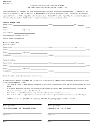 "Form 3 ""Election to Attend School Where the Parents Are Divorced or Separated"" - Indiana"
