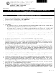 """State Form 54105 (DFR0009C) """"Notice Regarding Rights and Responsibilities for Supplemental Nutrition Assistance Program (Snap) and Cash Assistance"""" - Indiana"""