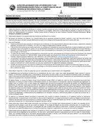 """Formulario del Estado 55372 (DFR0009MS) """"Aviso Relacionado Con Los Derechos Y Las Responsabilidades Para La Cobertura De Salud"""" - Indiana (Spanish)"""