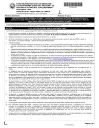 """Formulario del Estado 54106 (DFR0009CS) """"Aviso Relacionado Con Los Derechos Y Las Responsabilidades Del Programa De Asistencia Nutricional Suplementaria Y Asistencia Cash"""" - Indiana (Spanish)"""