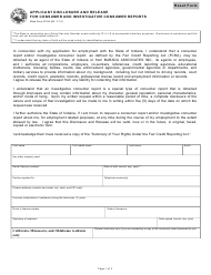State Form 51334 Applicant Disclosure and Release for Consumer and Investigative Consumer Reports - Indiana