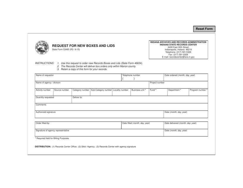 State Form 53485  Printable Pdf