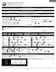 State Form 44874 Request for Print Service - Indiana