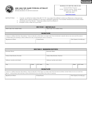 State Form 13637 One and the Same Person Affidavit - Indiana