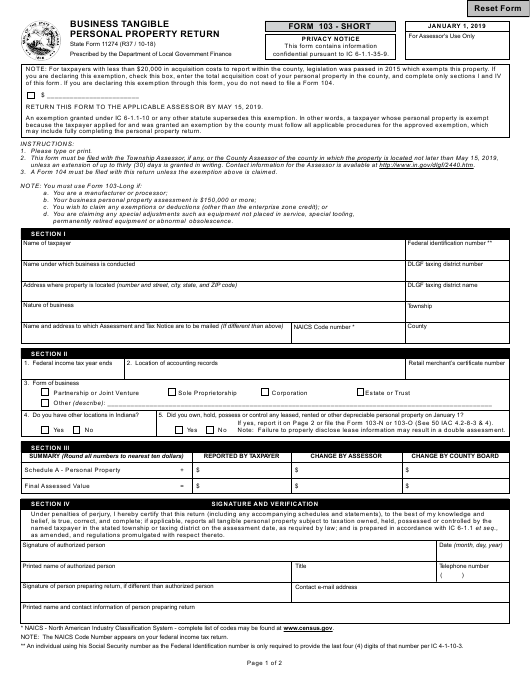 State Form 11274 Fillable Pdf