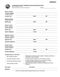 State Form 52123 Hazardous Waste Transfer Facilities Notification - Indiana