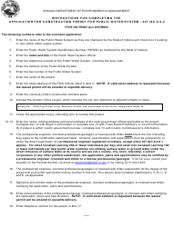 State Form 35058 Application for Construction Permit for Public Water System - 327 Iac 8-3-3 - Indiana