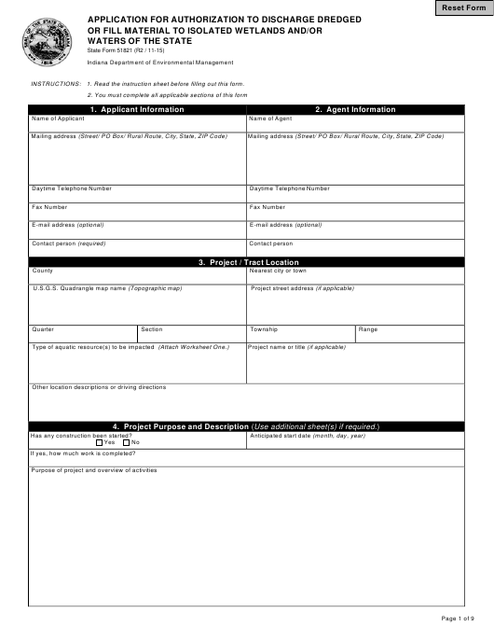 State Form 51821  Printable Pdf