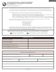 """State Form 54130 """"Application for Initial Licensure or Renewal of Licensure as a Professional Timekeeper"""" - Indiana"""