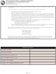 """State Form 45727 """"Application for Initial Licensure or Renewal of Licensure as a Professional Boxer"""" - Indiana"""