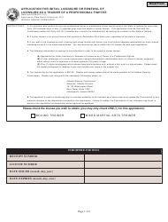 State Form 45729 Application for Initial Licensure or Renewal of Licensure as a Trainer of a Professional Fighter - Indiana