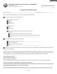 State Form 52048 Pregnant Women Hiv Test History & Assessment - Indiana