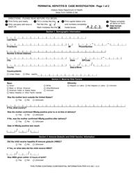 State Form 52589 Perinatal Hepatitis B Case Investigation - Indiana