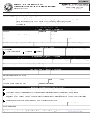 """State Form 53194 """"Application for Proficiency Certification for Limited Radiographer"""" - Indiana"""