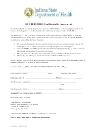 """State Form 53753 """"Isdh Ibrs/Idrs Confidentiality Agreement"""" - Indiana"""