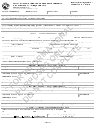 """State Form 54308 """"Local Health Department Paternity Affidavit - Child Within Sixty (60) Days Old"""" - Indiana"""