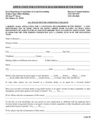 Application for Livestock Dealer/Order Buyer Permit - Iowa