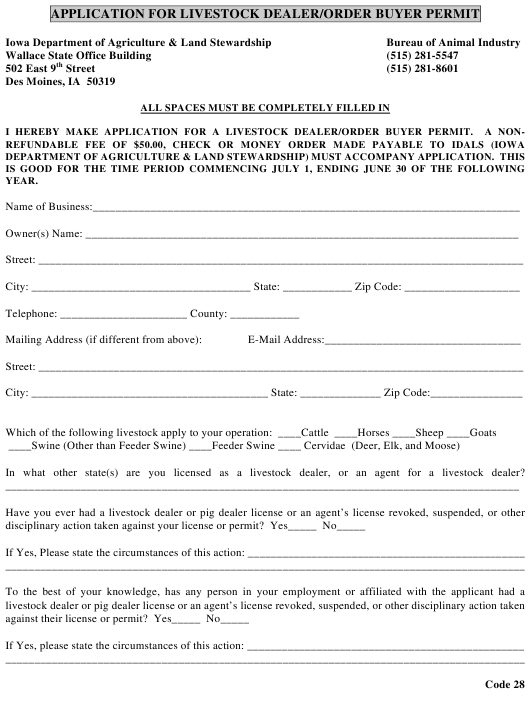 """Application for Livestock Dealer/Order Buyer Permit"" - Iowa Download Pdf"