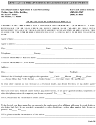 Application for Livestock Dealer/Market Agent Permit - Iowa