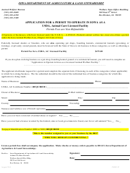 Application for a Permit to Operate in Iowa as a Usda, Animal Care Licensed Facility - Iowa