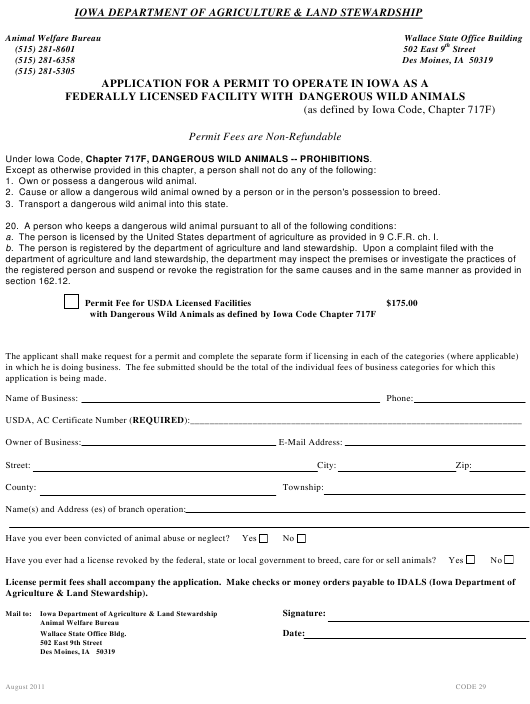 """Application for a Permit to Operate in Iowa as a Federally Licensed Facility With Dangerous Wild Animals"" - Iowa Download Pdf"