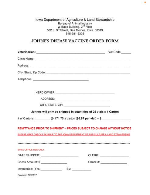 """Johne's Disease Vaccine Order Form"" - Iowa Download Pdf"