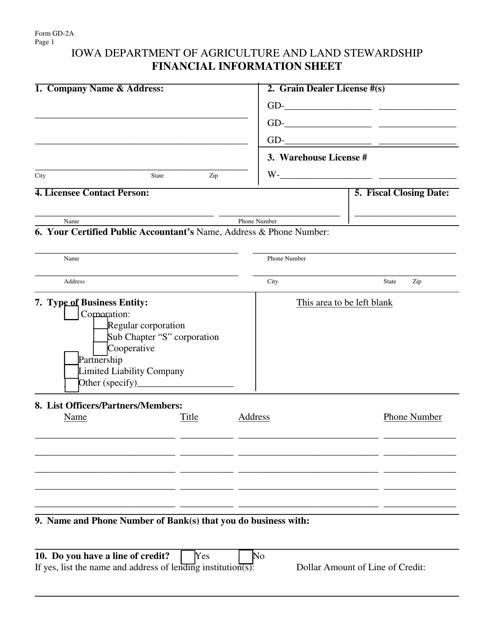 Form GD-2A  Printable Pdf