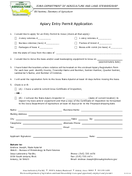 Apiary Entry Permit Application Form - Iowa