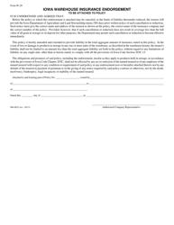 "Form W-20 ""Iowa Warehouse Insurance Endorsement"" - Iowa"