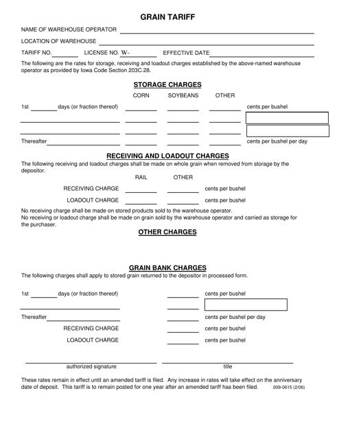 Form 009-0615  Printable Pdf