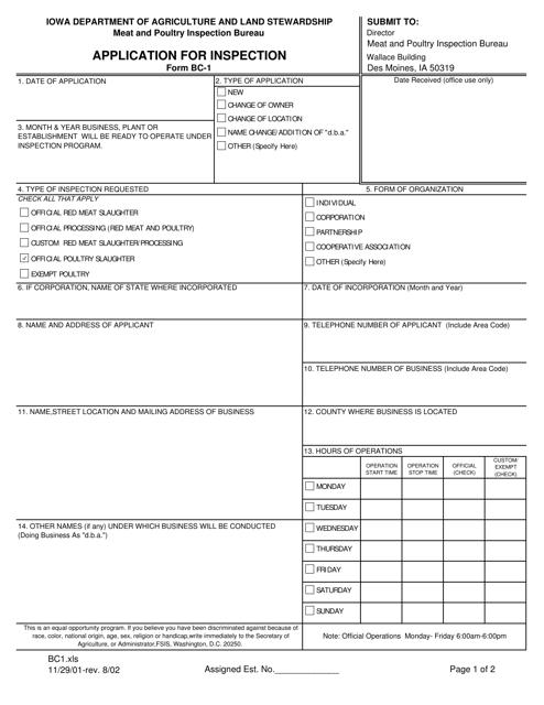 Form BC-1  Printable Pdf