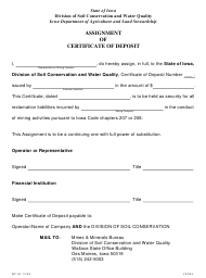 Form MP-02 Assignment of Certificate of Deposit - Iowa