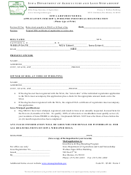 "Form 2 ""Iowa Greyhound Dog Application for Iowa-Whelped Individual Registration"" - Iowa"