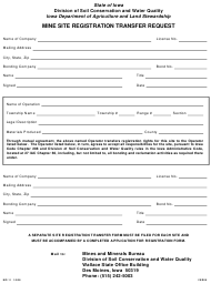 Form MP-11 Mine Site Registration Transfer Request - Iowa