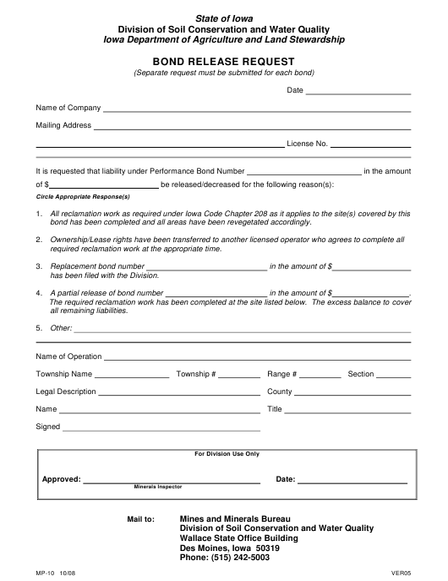 Form MP-10  Printable Pdf