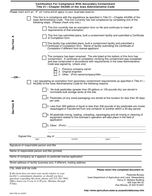 Form 009-0769  Printable Pdf