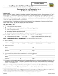 DNR Form 542-1428 Construction Permit Application Form - Confinement Feeding Operations - Iowa
