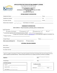 """Application for Food Establishment License (Food, Mobile Unit, Non-nslp Schools)"" - Kansas"